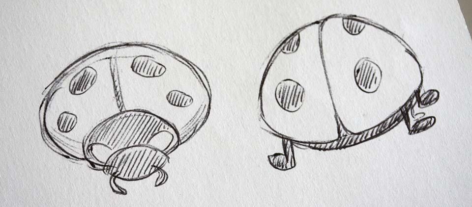 Vereinfachte Form - ein Käfer von vorn und einer von hinten betrachtet.