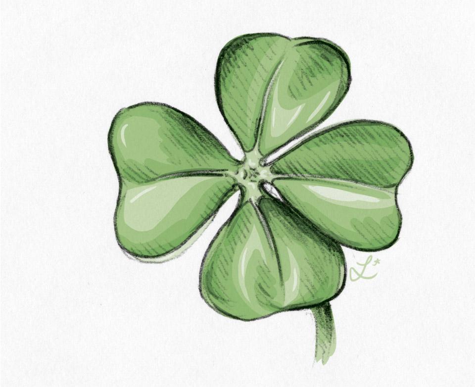 Vier Blätter die Glück bringen - Glücksklee coloriert in Photoshop