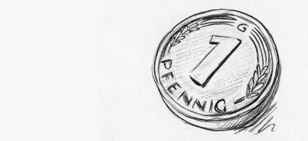 Der gute alte Glückspfennig - Zeichnung mit Kulli