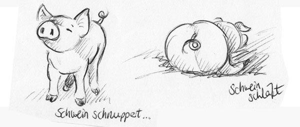 Zwei glückliche Schweine - Skizze mit Kugelschreiber