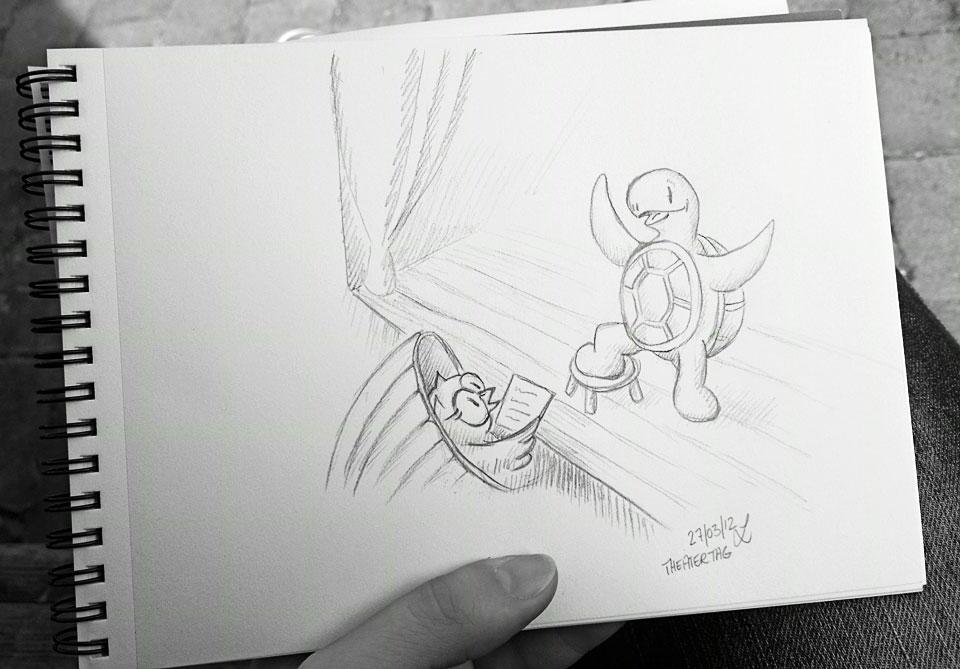 Das Gesamtbild - Dauer der Zeichnung: Mittagspause 10 Minuten.