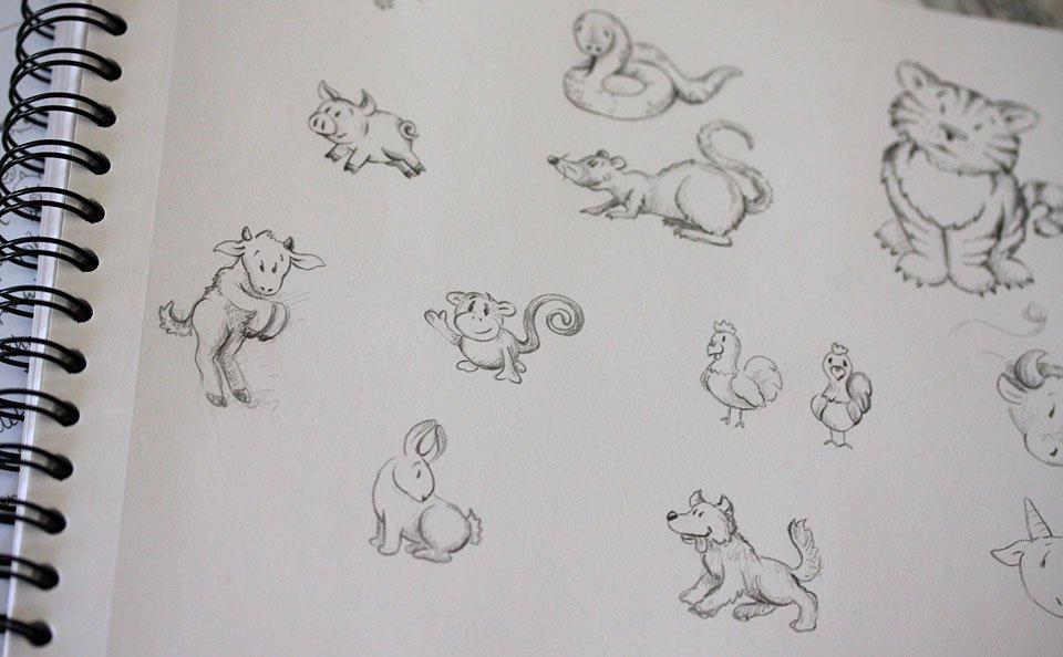 Erste Skizzen der zwölf Tiere.