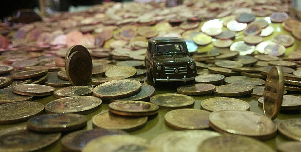Ein Fiat Model in einem großen Haufen Glückspfennige!