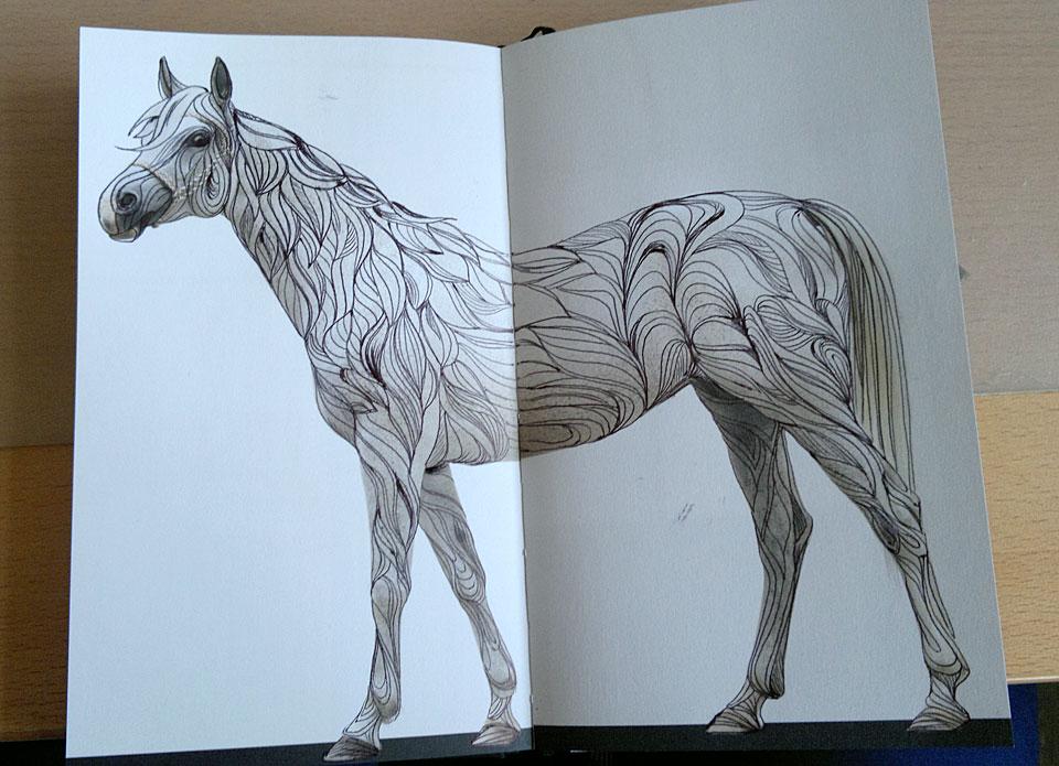 Erst das Pferd, komplett verliniert.