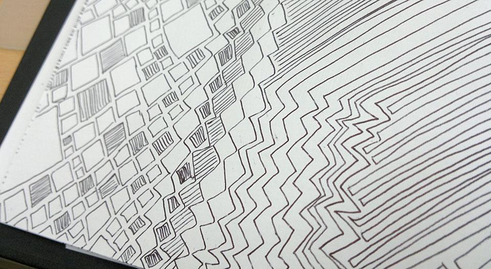 Hier mit Zacken und Quadraten.