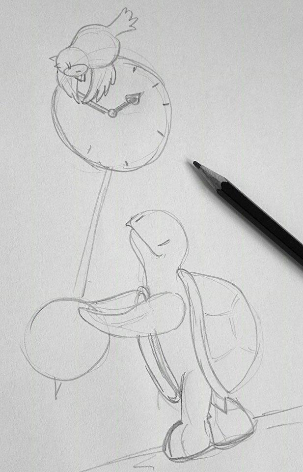 Idee schnell gekritzelt: Die zwei wollen die Uhr vorstellen.
