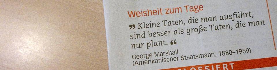 """""""Kleine Taten die man ausführt, sind besser als große Taten, die man nur plant."""" George Marshall"""