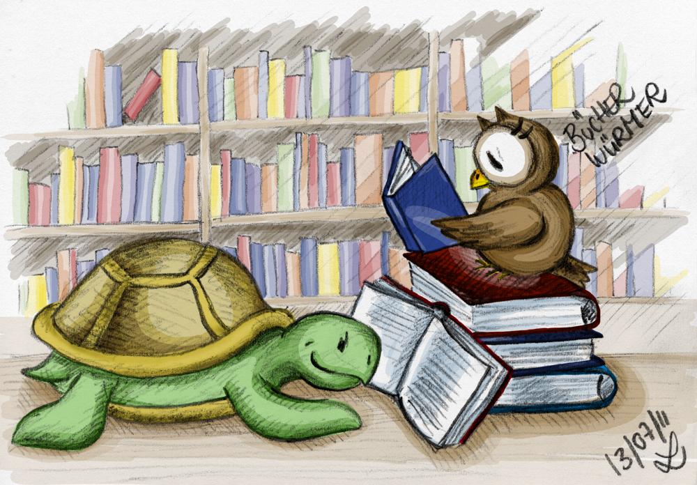 Die zwei Bücherwürmer lümmeln in der Bibliothek.