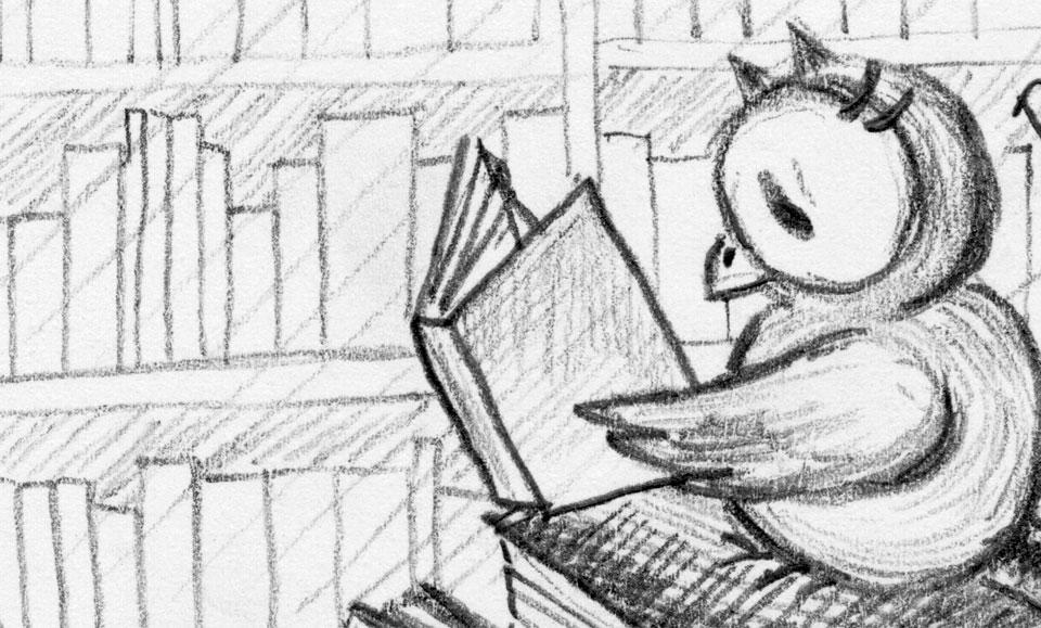 Schuhuu sitzt auf einem Bücherstapel und liest ein Buch.