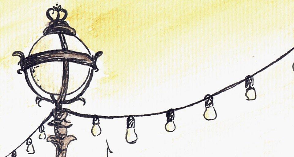 Detail des fertigen Bildes - leicht goldene Leuchtkugeln der Laternen.