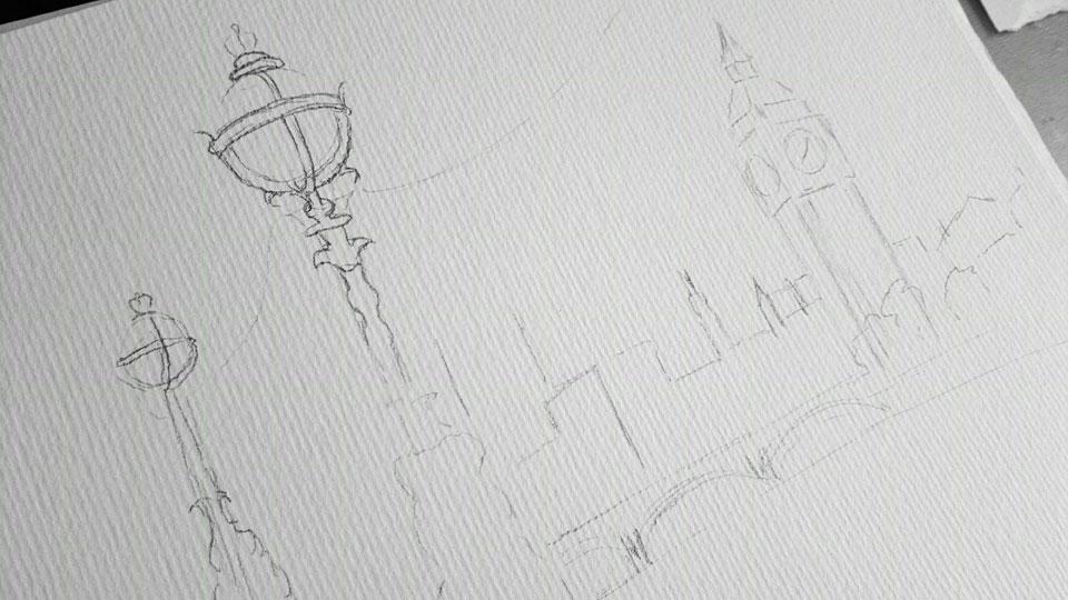 Mit Bleistift vorgezeichnet - Blick über die Themse zu Big Ben.