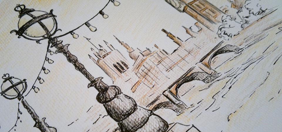 Die wunderschönen Laternen - Detail der Schraffierung mit den Stiften.