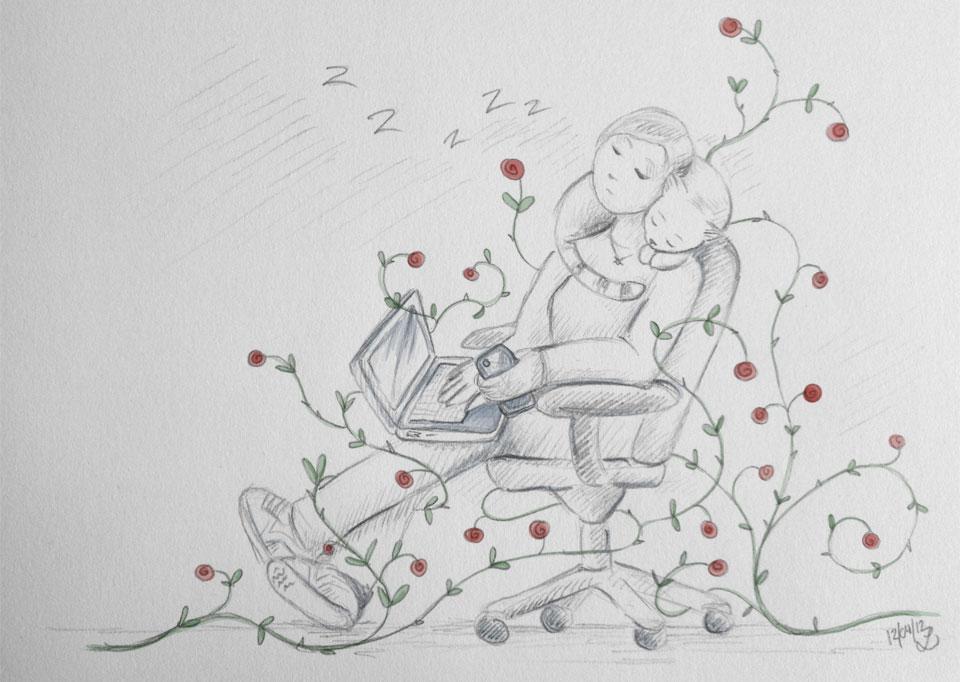 Eingewachsen in roten Rosen schläft das Dornröschen - hoffentlich nicht auch 100 Jahre.