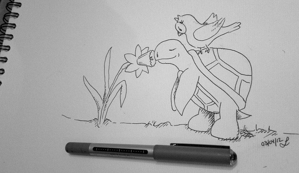 Schnelle Zeichnung mit Fineliner.