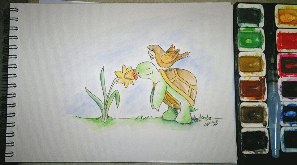 Die Zeichnung fertig coloriert mit dem Waterbrush und Aquarellfarbe.