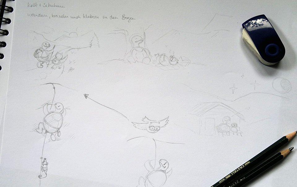 Vier Ansätze für Manus Wunschbild: Kröt und Schuhuu in den Bergen.
