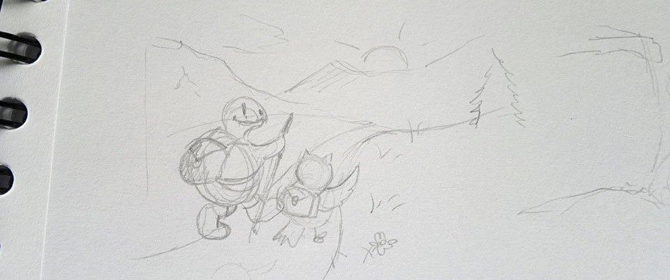 Skizze: Die zwei beim Wandern.