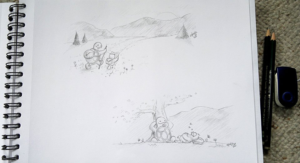 Die ersten beiden Motive mit Bleistift gezeichnet.