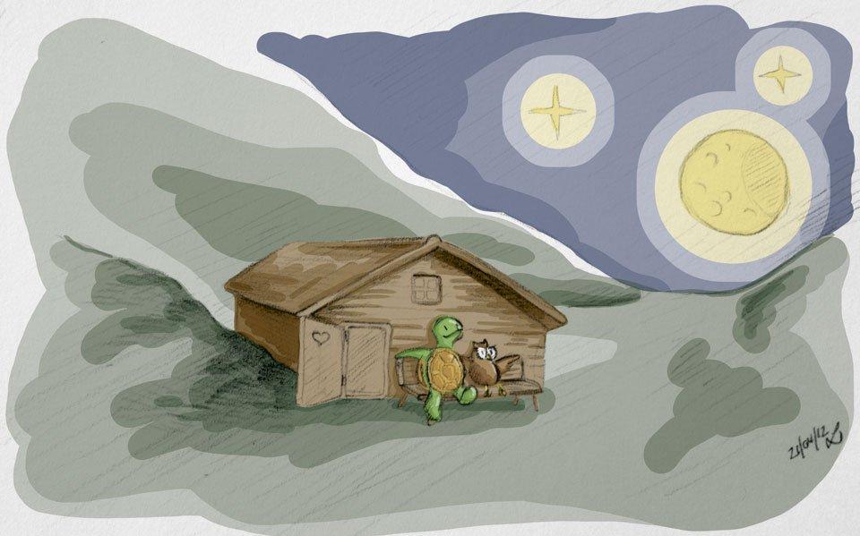 Abschluss des Tages: Mond und Sterne gucken vor einer Hütte hoch oben in den Bergen.