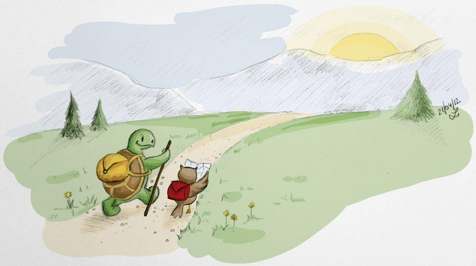 Mit den ersten Sonnenstrahlen machen sich Kröt und Schuhuu auf den Weg in die Berge.