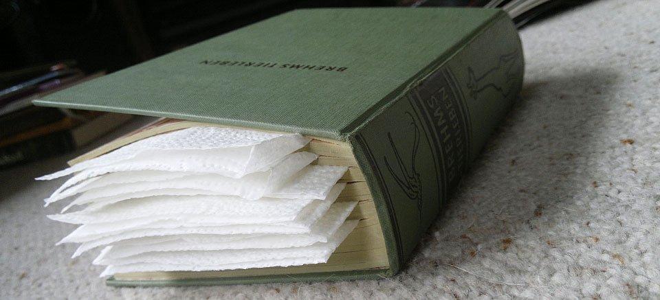 Gut gefüllt - ein altes Tierlexikon zum Pressen der Blüten.