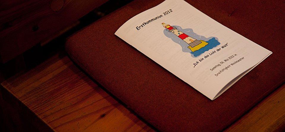 Erstkommunion 2012 - ein liebevoll gestaltetes Liedblatt.