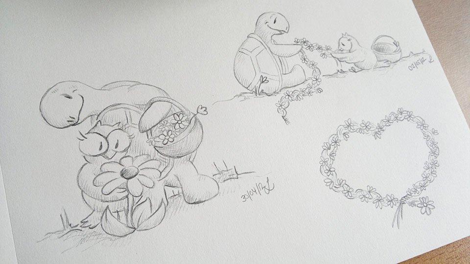 Die Ausarbeitung mit Bleistift - ein A5 Blatt mit den Motiven.