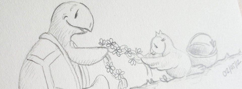 Zusammen flechten sie nun einen langen Zopf aus den vielen Blumen. Kröt hält gut fest und Schuhuu mit ihren flinken Flügeln legt eine Blume nach der anderen dazu.