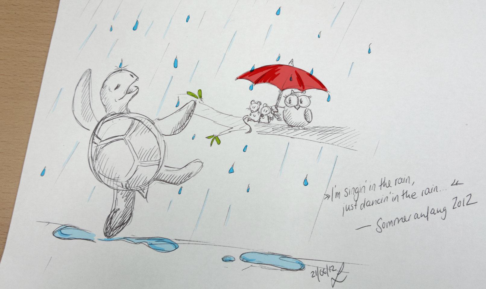 """Kröt tanzt und sprint durch den Regen und sihiiingt laut: """"I'm singin' in the rain..."""""""