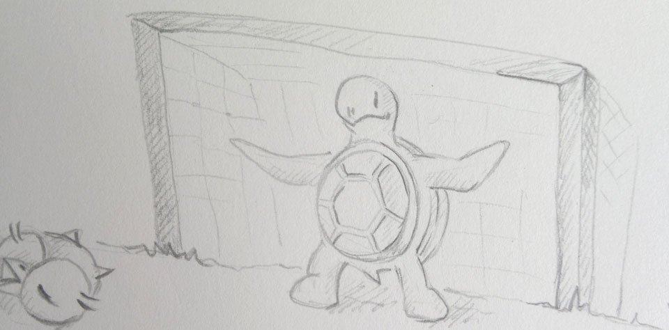 Kröt steht im Tor und macht sich ganz groß, trotzdem ist er ein bisschen am Zittern...