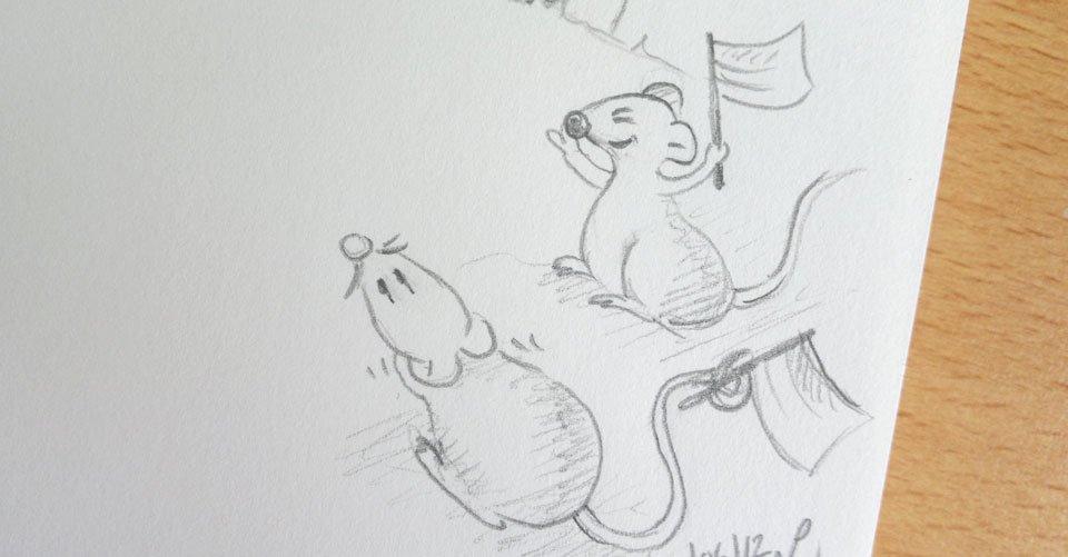Die beiden Mäuse sind aufgeregt am Jubeln - für wen halten sie die Däumchen?