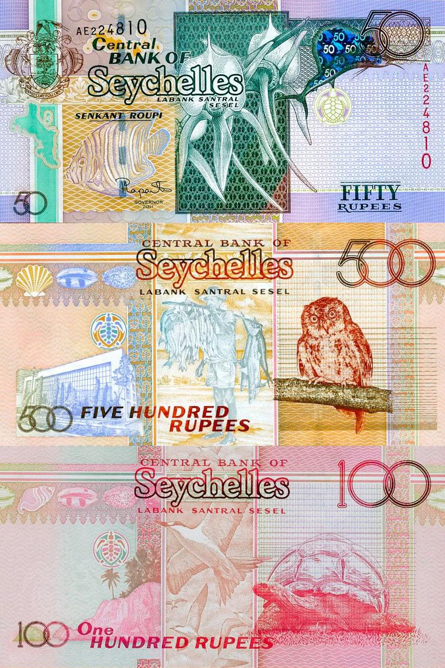 Die Banknoten der Seychellen haben eine Schildkröte als Durchsichtsregister.