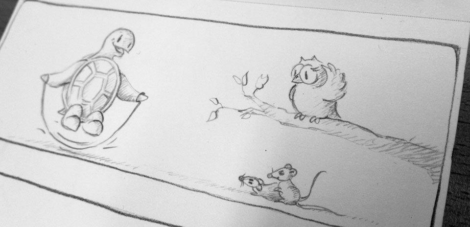 Kröt springt im Seil und die Mäuse sind begeistert. Während sich Schuhuu noch verwundert am Kopf kratzt...