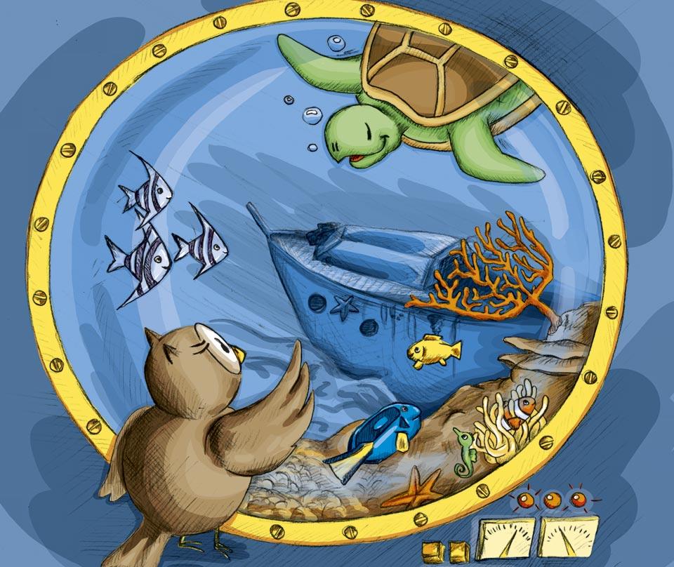 Das fertige Kalendermotiv für den Juli: Kröt und Schuhuu unter Wasser.