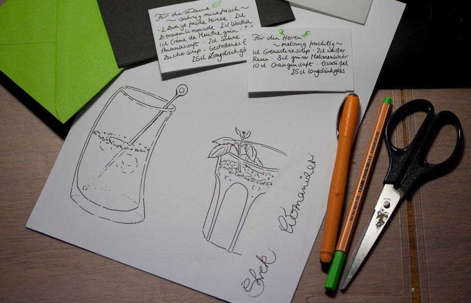 Doppelkarte: Ein Cocktail-Duo für Freunde.