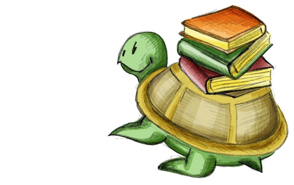 Kröt dagegen trägt einen Stapel Bücher einfach so auf dem Panzer.