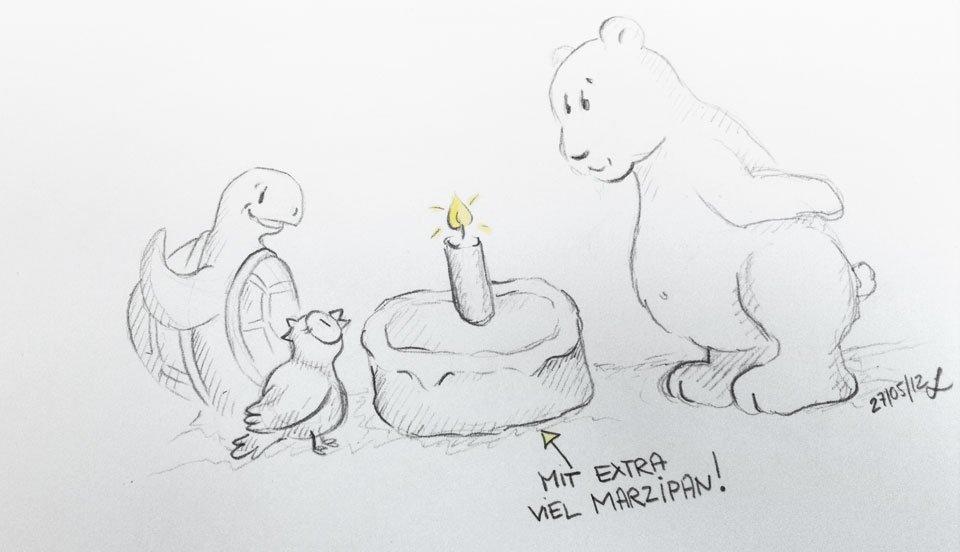 Ein Geburtstagskuchen für den Bären - mit ganz viel Marzipan!