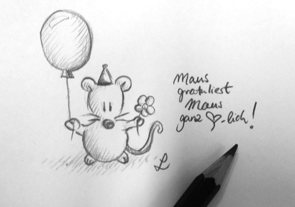 Mit Ballon, Blümchen und Hütchen wird ganz Herzlich gratuliert!