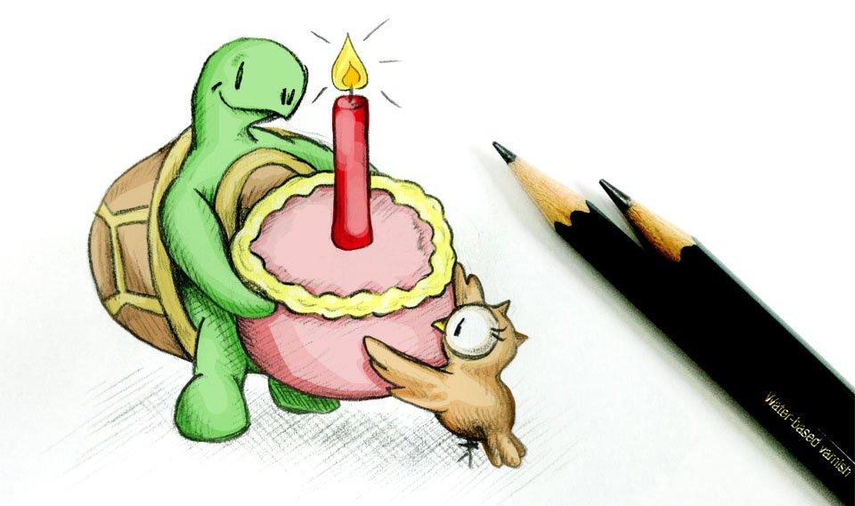 Schön vorsichtig sein mit der großen Torte, damit sie nicht fällt...