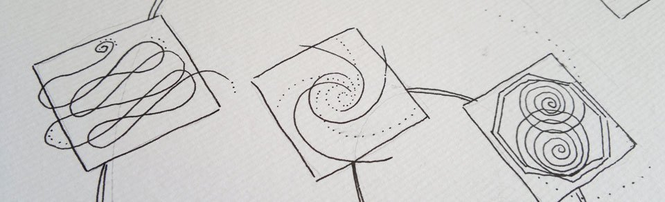 Zeichnung der einzelnen Elemente mit Tuschestift.