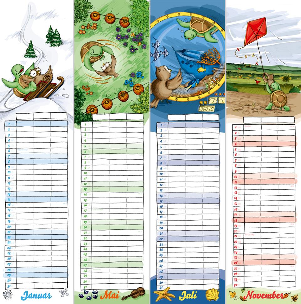 Vier der Monatsblätter aus dem aktuellen Kalender.