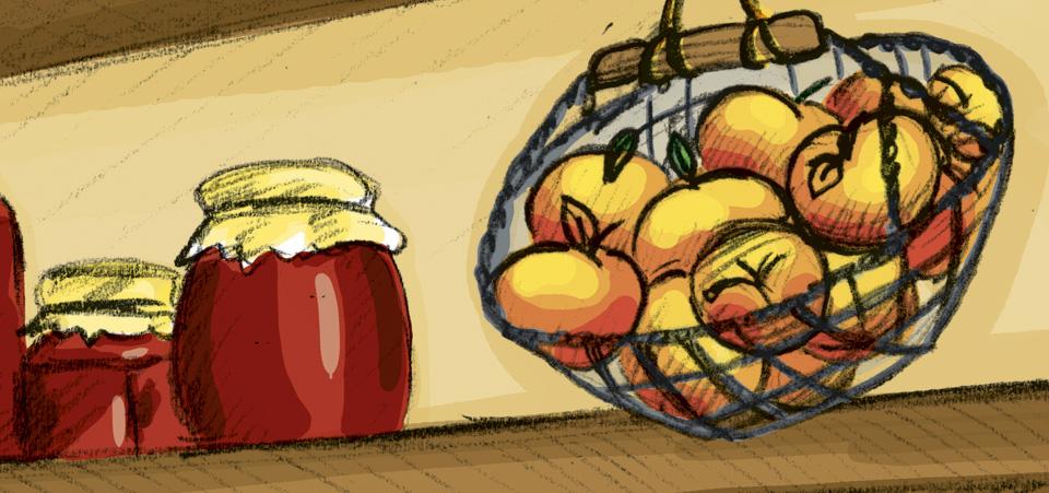 Leuchtend Golden – die reifen Äpfel im Korb.