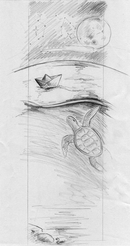 Schon genauere Skizze mit Bleistift – Das Format von ca. 10 x 29 cm wurde beibehalten.