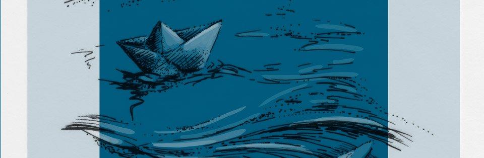 Das kleine Papierschiff auf dem weiten Wasser...