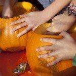 Fleißige Hände kratzen Kürbisse aus.