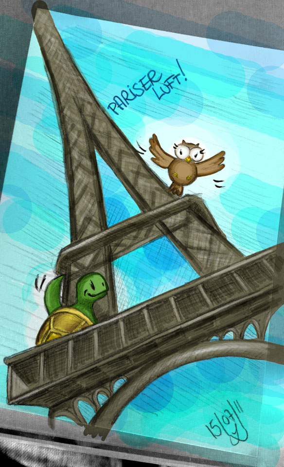 Ein coloriertes Handy-Foto: Kröt und Schuhuu in Paris.
