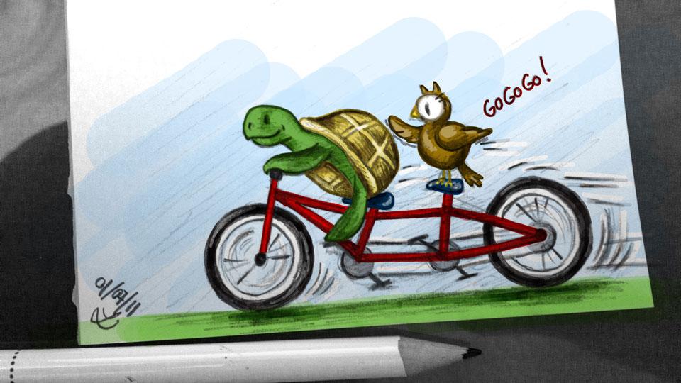 """""""Rote Fahrräder sind immer schneller, hab ich mal gehört!"""""""