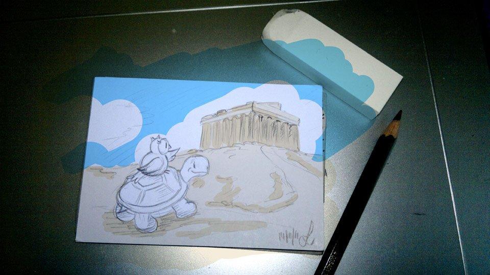 """Eines der letzten im Miniformat: """"Für Dich trag ich Eulen nach Athen"""""""