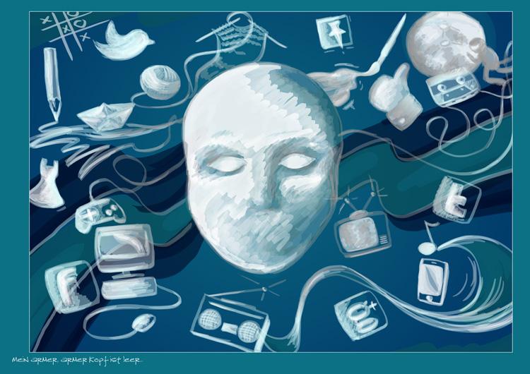 """Die fertige Postkarte: Illustration """"Mein armer, armer Kopf ist leer"""""""