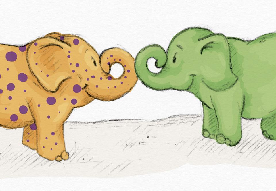 So begrüßen sich die beiden Elefants.